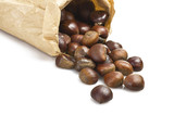 delicious group of chestnuts in a paper bag