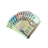 Thai banknotes on a white background (with clipping path)