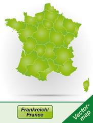 Frankreich mit Grenzen in Grün