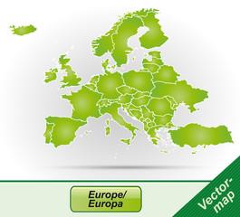 Europa mit Grenzen in Grün