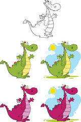 Cute Dragons Cartoon Mascot Characters. Collection Set