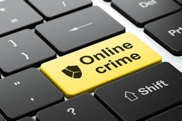 Protection concept: Broken Shield and Online Crime on keyboard