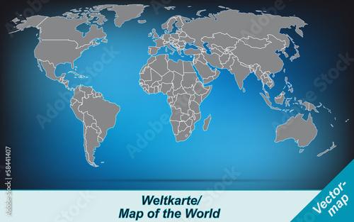 Weltkarte mit Grenzen in leuchtend grau