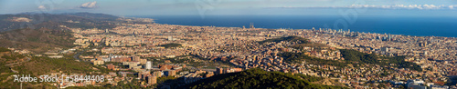 Panorama of Barcelona from the top of Sagrat Cor temple