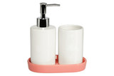 Ceramic bath set on white background