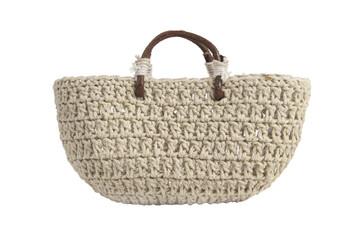 Braided handbag with wooden handles