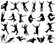 Black silhouette of people jumping, vector - 58442219
