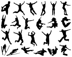 Black silhouette of people jumping, vector