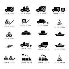 Transport Icons Set - Isolated On White Background