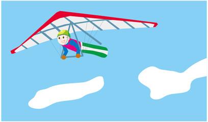 ハンググライダーと青空
