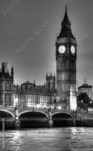 Zdjęcia na płótnie, fototapety, obrazy : Black and White photo of Big Ben, London, United Kingdom