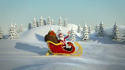 cartoon santa claus driving in sleigh through snow