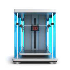 3D printer on white background