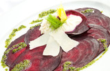 Vegetarian Beetroot Carpaccio w goat cheese and Pesto