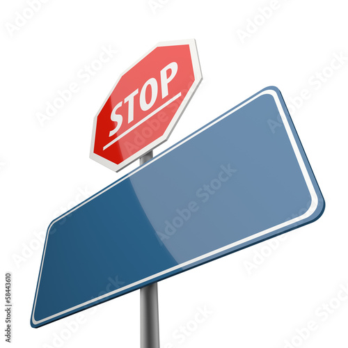 Stop word on Road Sign Red and Blank Space
