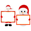 Santa Claus and snowman with empty banner