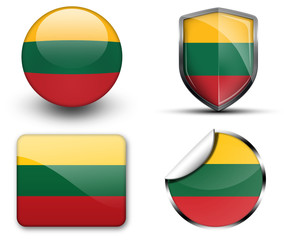 Lithuania flag button sticker and badge