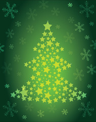 Christmas tree of stars green