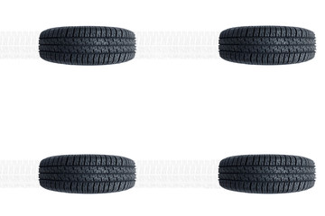 Car new tires alignment isolated on white