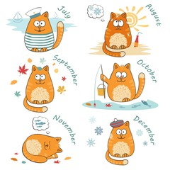 calendar set with cute bright cats.