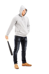 Guy with hood over his head holding a baseball bat