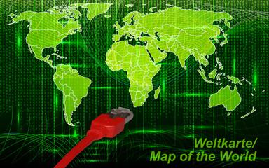 Weltkarte mit Grenzen im neuen Netzwerkdesign