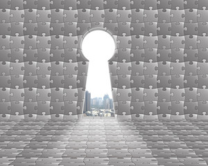 Key shape door on puzzles wall with city view outside