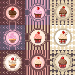 Set of cupcake on vintage background - vector illustration