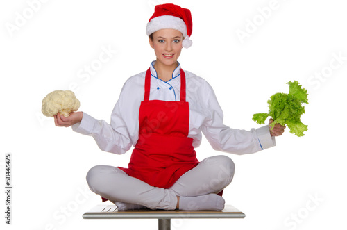 Festive cook with vegetables
