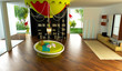 Rendering 3d , camera bambini, fantasy, appartamento