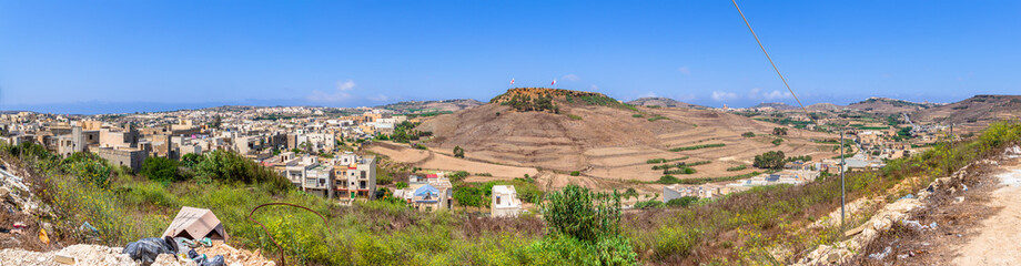 Panoramic view of Victoria and surrounding area in Gozo, Malta