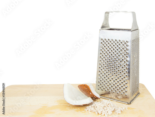 Grated coconut with a grater