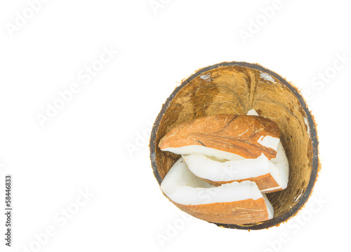 Coconut and coconut flesh over white background