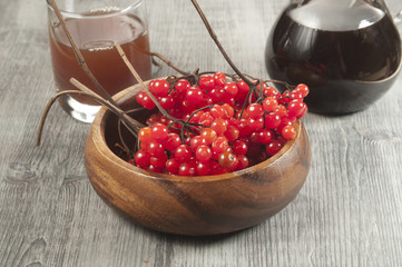 Guelder (arrow wood) berries and syrup