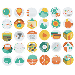 Application Web Icons in Flat Design 3