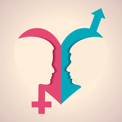 Illustration of male and female face and symbol with heart