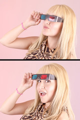 Young beautiful woman with 3d glasses, set