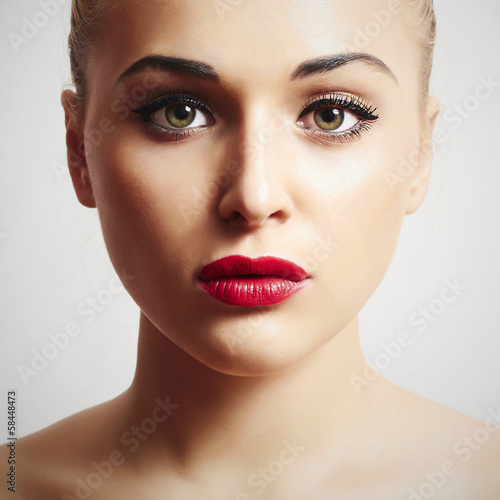 beautiful woman with red lips.portrait.make-up