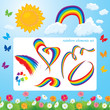 Different shapes of rainbows, clouds, sun, butterflies and flowe