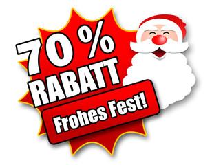 "Siegel ""70 Prozent Rabatt - Frohes Fest!"""