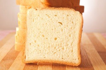 Toast bread on table