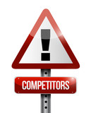 competitors warning road sign illustration poster