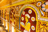 Mural inside temple of the Sacred Tooth Relic in Kandy,Sri Lanka