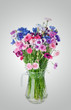 canvas print picture - Bouquet of many beautiful multi-colored cornflowers flowers  in