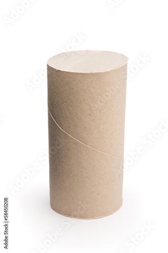 empty cardboard toilet paper isolated on white