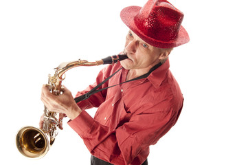 Man with hat playing saxophone