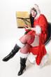 Weihnachtsfrau mit Paket