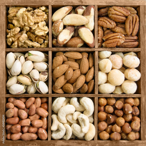 Assorted nuts in a wooden box
