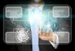 Businessman world tech concept