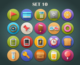 Round Bright Icons with Long Shadow Set 10